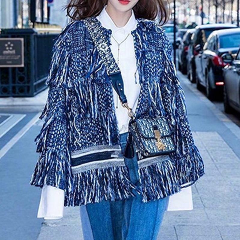 HAMALIEL Winter Women Tweed Tassel Loose Jacket Coat 2018 Runway Desinger Long Sleeve Woollen Thick Open Stitch Weave Outer Wear