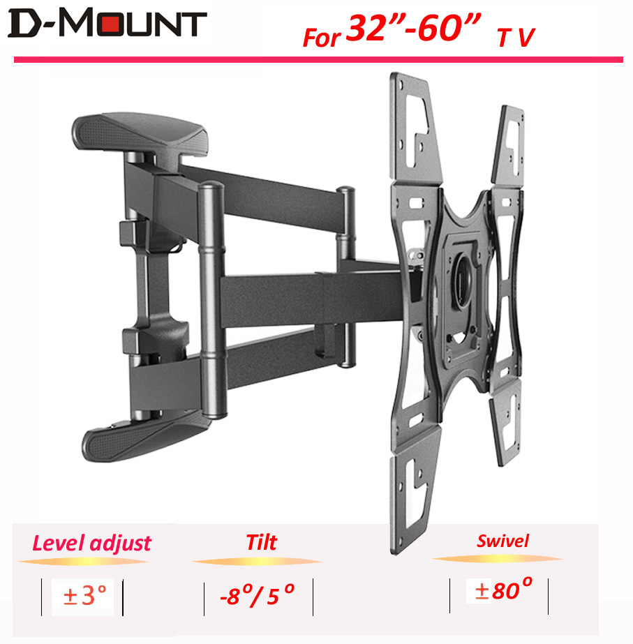 NB Double Arm 32 60 Retractable Lcd Tv Wall Mount With