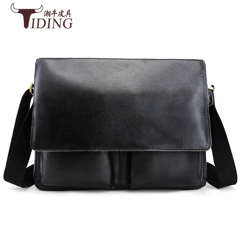2017 New Fashion genuine  Leather Bags for Men famous brand  Men's Shoulder Bag real Leather black Messenger Bag briefcase male european and american fashion black leather zipper man bag design famous manberce brand male shoulder messenger bags