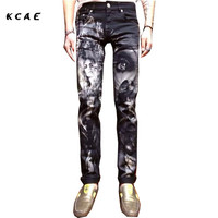Black Skinny Jeans Men Fashion 3D Print Painted Stretch Denim Jeans Men Slim Fit Jeans Pants