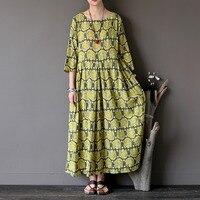 2017 New Flower Print Cotton Women Long Dress Summer Casual Loose Vintage Midi Dress Cute Kawaii