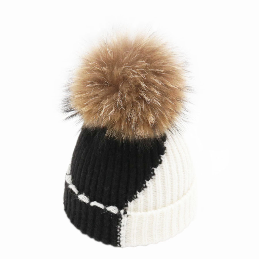 Wool Fluffy Curled Fur Hats New Patchwork Women Winter Removable Fox Fur Pom pom Knitted   Skullies     Beanies   Caps