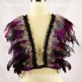 Bra pluma, 2016 New Rave Bralette Superior Jaula Bondage, Pentagram Harness, Gypsy Ropa Interior, traje de la danza, Rave Desgaste, Ropa del festival