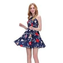 Dioufond Women Sling Dress Retro Vintage Vestidos Slash Neck Print Dresses Spaghetti Strap Vestido Summer Sleeveless