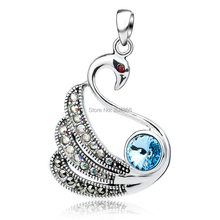 GND0798 Free Delivery Wholesale Elegant Swan Pendant For Jewellery Making Vogue 925 Sterling Silver Jewellery Crystal Pendant