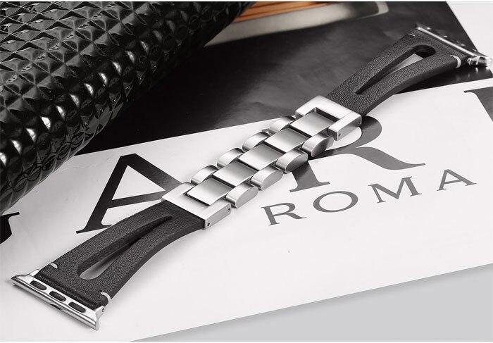 Bracelet en cuir & lien pour bracelet de montre apple 42mm 38mm correa bracelet de montre en métal pour i bracelet de montre 5/4/3/2/1 44mm 40mm pulseira