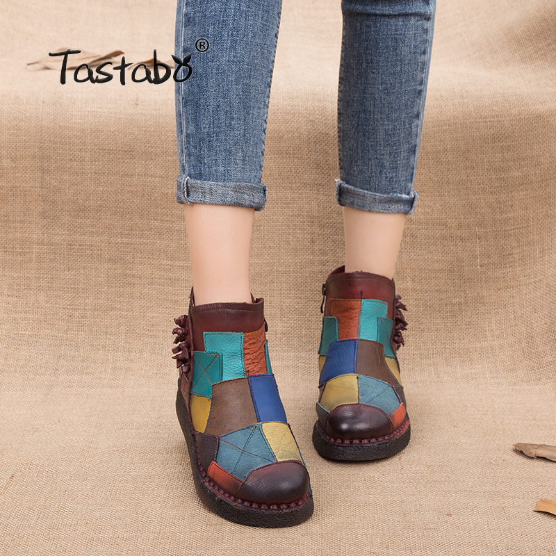 Tastabo 2018 Womens Boots Autumn Leather Handmade Retro Martin Boots Flat Shoes Mulitcolor Genuine Leather Boots for Women ...