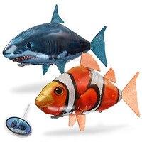Tubarão de ar voador com controle remoto  brinquedo rc  helicóptero com gás hélio  peixe avião  palhaço  peixe  balões  presente para robô  1 peça para crianças