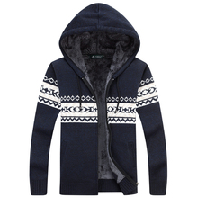 Winter Warm Thick Mens Sweaters / Casual Fleece Knitted Sweater coat Men Designer Hooded Cardigans Big size to 3XL