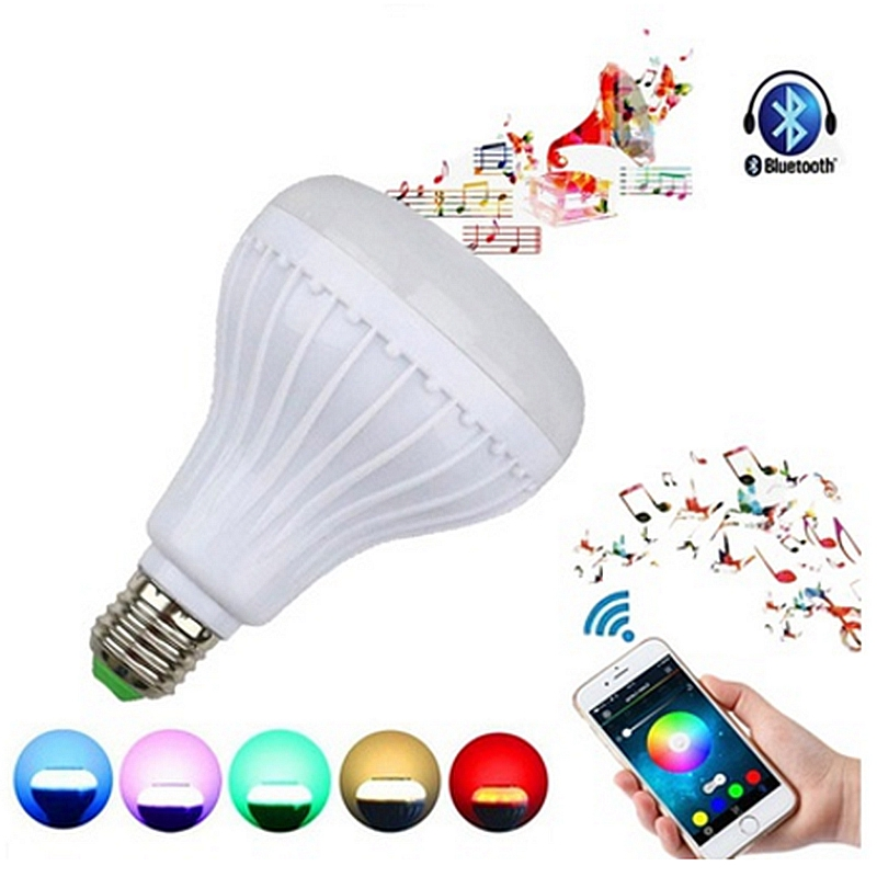 LED RGB Color Bulb Light E27 12W Bluetooth Control Smart Music Audio Speaker Lamp in Speaker Accessories from Consumer Electronics