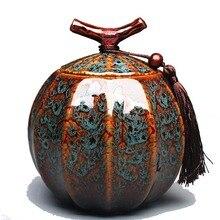 Высококлассная керамическая печь для трансмутации фарфоровая банка для чая в стиле тыквы керамическая чайная бочка герметичный резервуар для хранения чая caddy