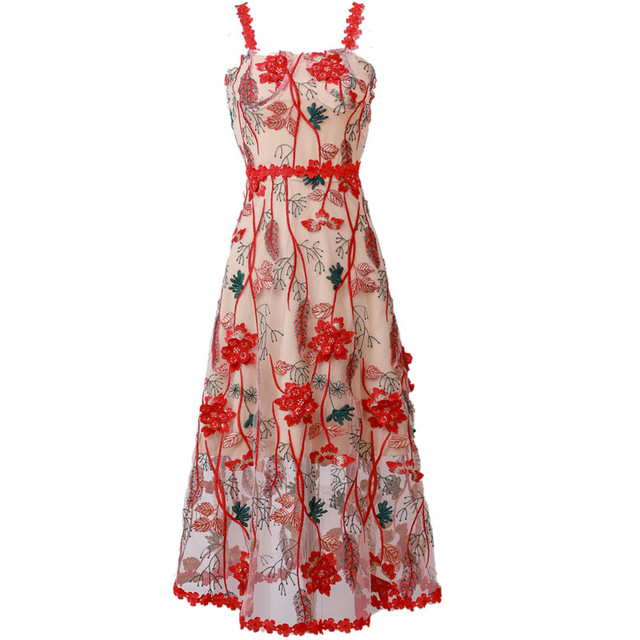 Banulin Flower Embroidery Red Cami Holiday Dress 2019 Summer Women Spaghetti Strap Casual Mesh Lace Sleeveless Long Dresses