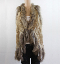 GTC050 NEW STYLE WOMENS FASHION GENUINE/REAL KNITTED RABBIT FUR VEST TRIM GILETS WAISTCOAT WITH RACCOON COLLAR COAT OUTWEAR