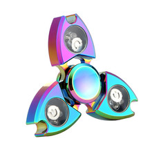 MUQGEW LED Light Hand Spinner Top Spinner Toy Fidget Toys Aluminium Ceramic Finger Ball For Kids ADHD Magia Z06