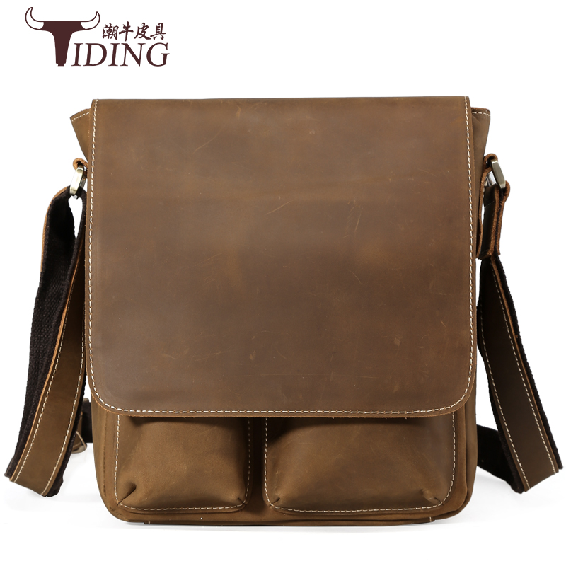men crossbody bags 2017 new real leather business man dress fashion brand casual vintage small shoulder bags male crossbody bag
