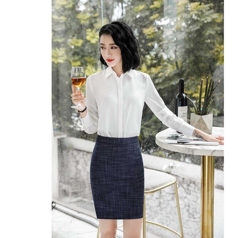 ... 2018 Womens Blazer Two-piece Sets Business Suits Blazer+ Elegant Skirt  Pants White Shirt Formal ... d49181869b86