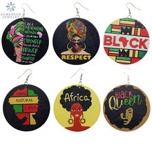 SOMESOOR Printed Black Power AFRO Wood Drop Earrings Respect African Queen Natural Lady Phenomenal Woman Inspiring Jewelry 6Pair