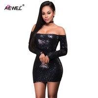 SEBOWEL Sexy Off Shoulder Long Sleeve Mini Dresses Clubwear Sequin Dress Black Pink S XL