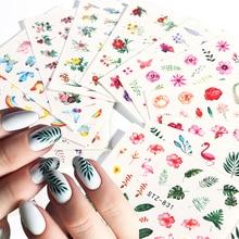 29 pçs etiqueta do prego verão colorido borboleta flor decalques de água transferência envolve tatuagem folha flamingo sliders para manicure ji764