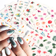 29pcs Nail Sticker Summer Colorful Butterfly Flower Water Decals Transfer Wraps Tattoo Leaf Flamingo Sliders for Manicure JI764