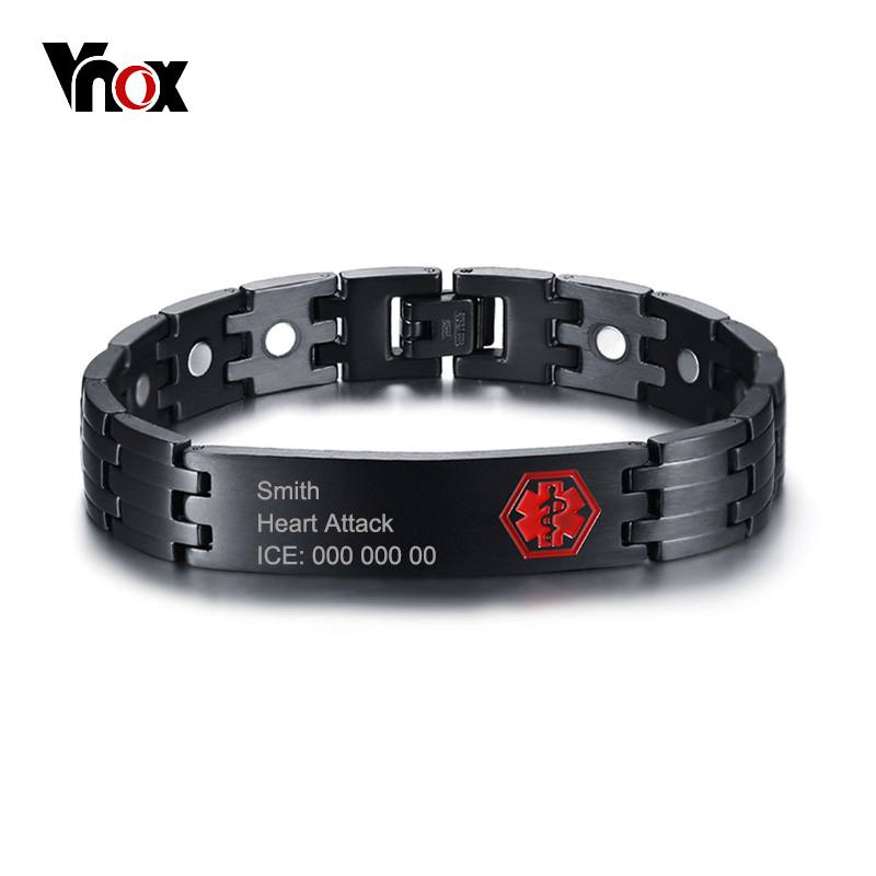 Vnox Free Engraving 12mm Medical Alert ID Bracelet for Men Bangle Health Care Magnetic Energy Stainless Steel Male Jewelry ...