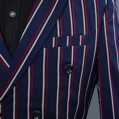 Simple Formal Suits Men 2019 Long Sleeve Dress Mens Casual Prom For Blue Stripes Suit Slim Fit Clothing Two Piece Set Coat Pants Multan
