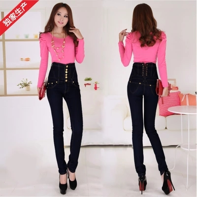 Dongkuan female elastic waist   jeans   Slim thin leggings feet pencil pants pants large yards