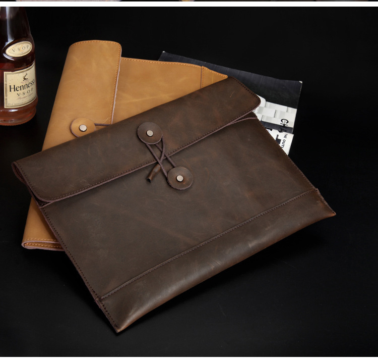 A4 Guranteed Genuine Leather Conference File Folder Business Manager Document Bag Report Briefcase Portfolio Padfolio 5022B