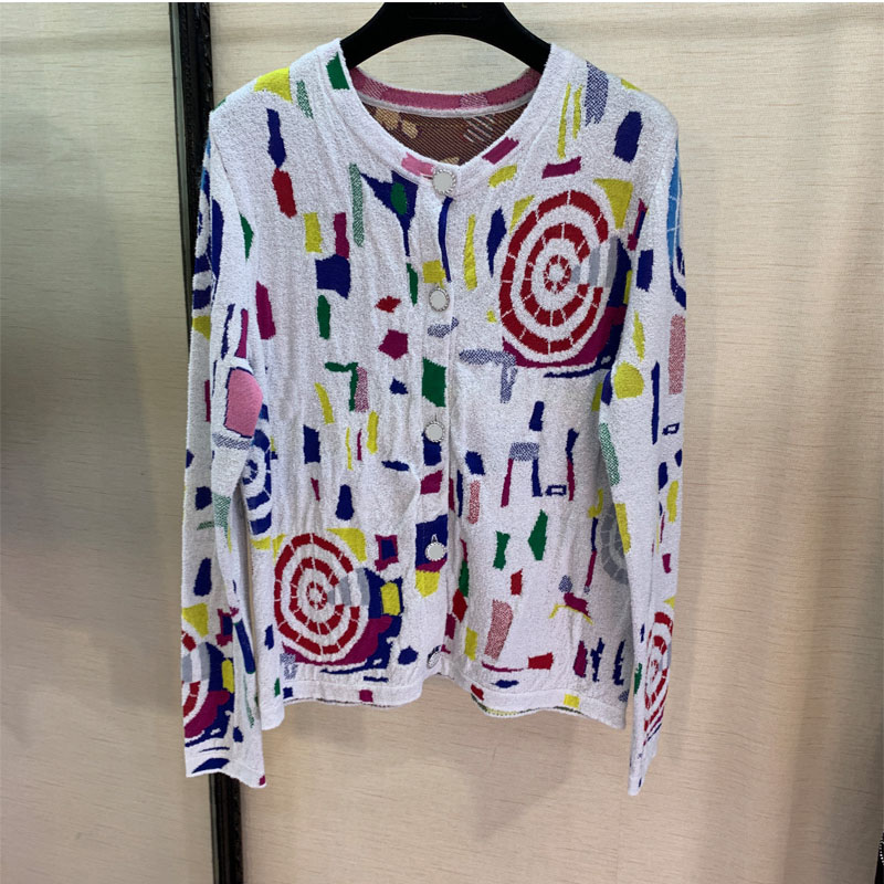 Runway fashion star same knitting geometry cardigan long sleeves just tops