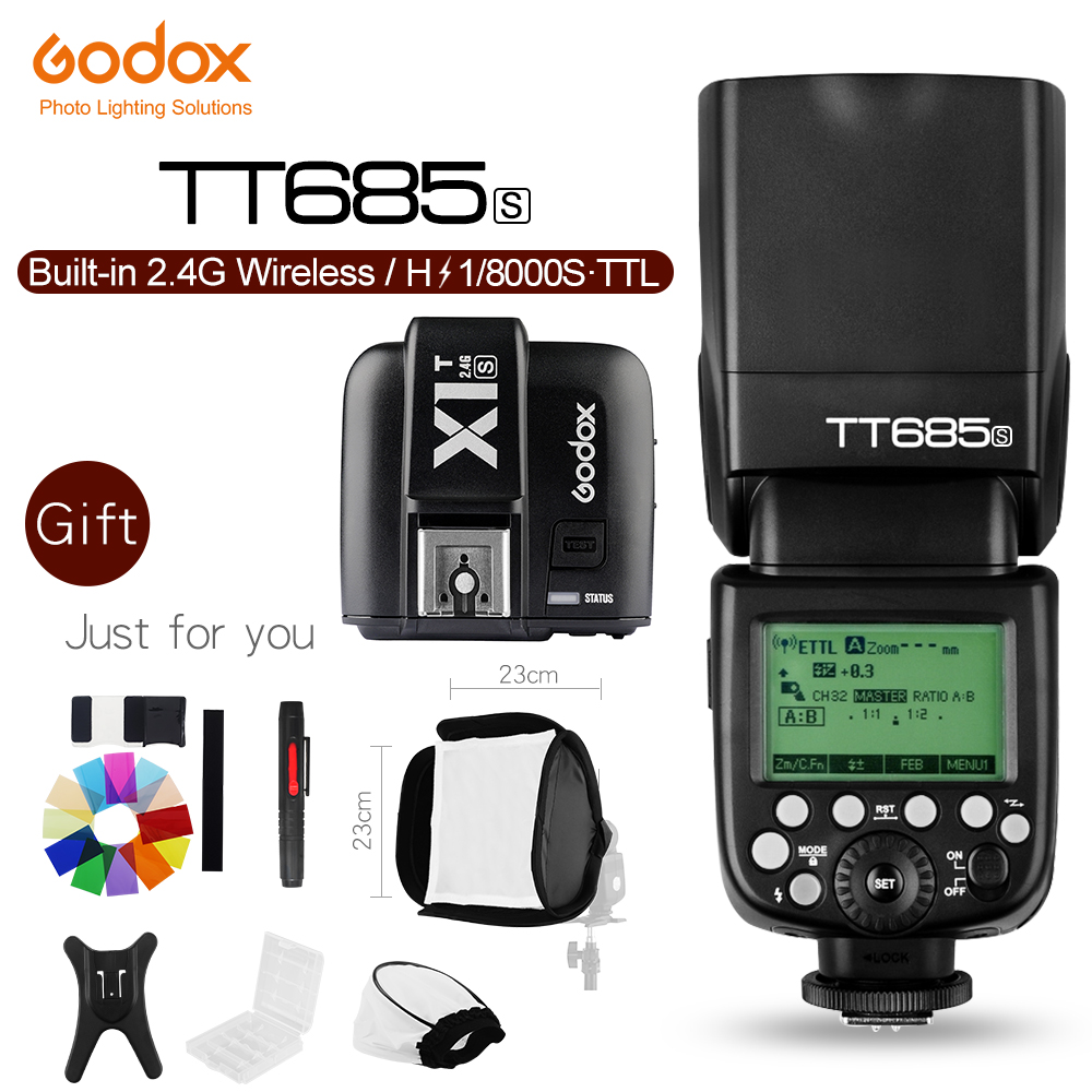 Godox TT685S 2.4G HSS TTL GN60 Flash Speedlite+ X1S Trigger Transmitter Kit for Sony A58 A7RII A7II A99 A7R A6300 +5 Gift Kit