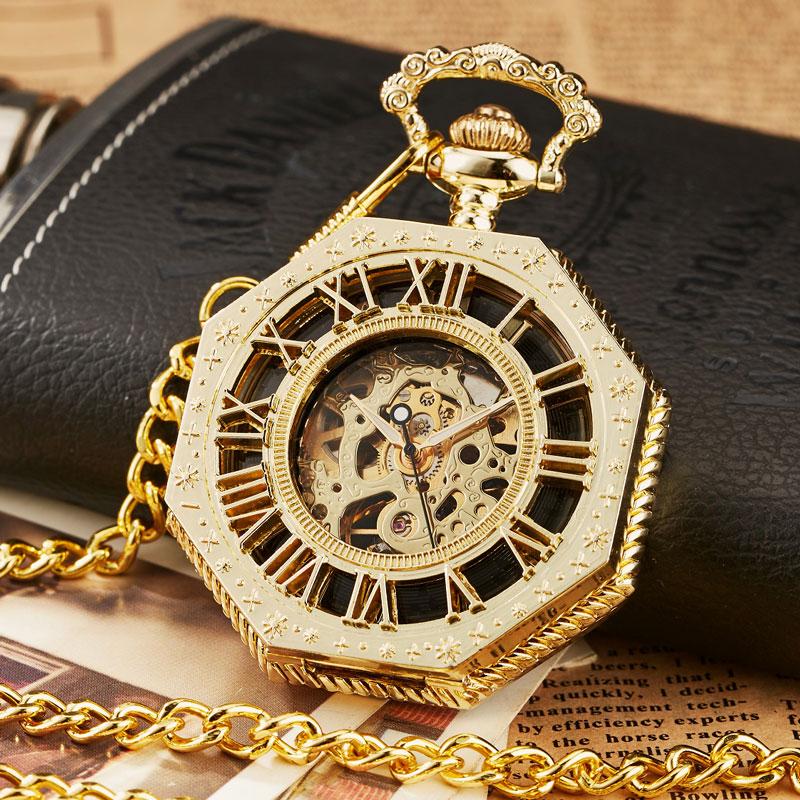 Ouro de Luxo Relógio de Bolso com Corrente Relógio de Bolso Octagon Único Número Roman Steampunk Aço Completo Mecânica Mão-winding Fob