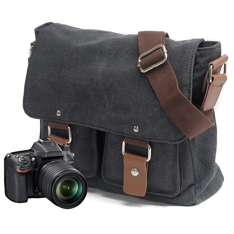 b9042ddac0 US $29.86 45% OFF MCO Camera Bag with Photo Pouch Vintage Canvas DSLR SLR  Shoulder Bag Vintage Messenger Comfort Camera Bag Sony Nikon Canon on ...