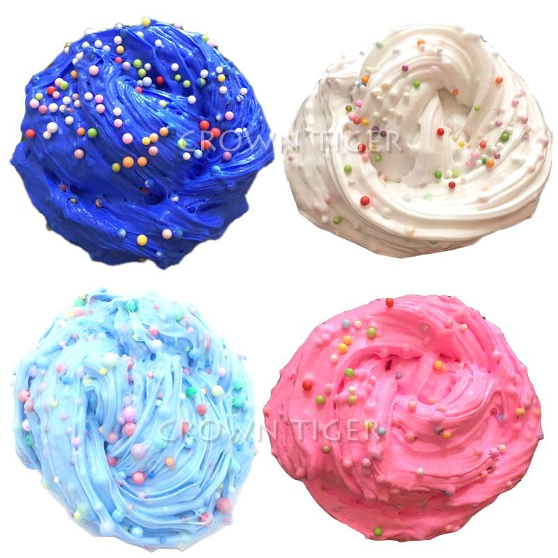 Rainbow Fluffy slime Crunchy Foam/floame Beads/balls glue slime for Kids children Antistress Toys charm butter Slime lizun putt