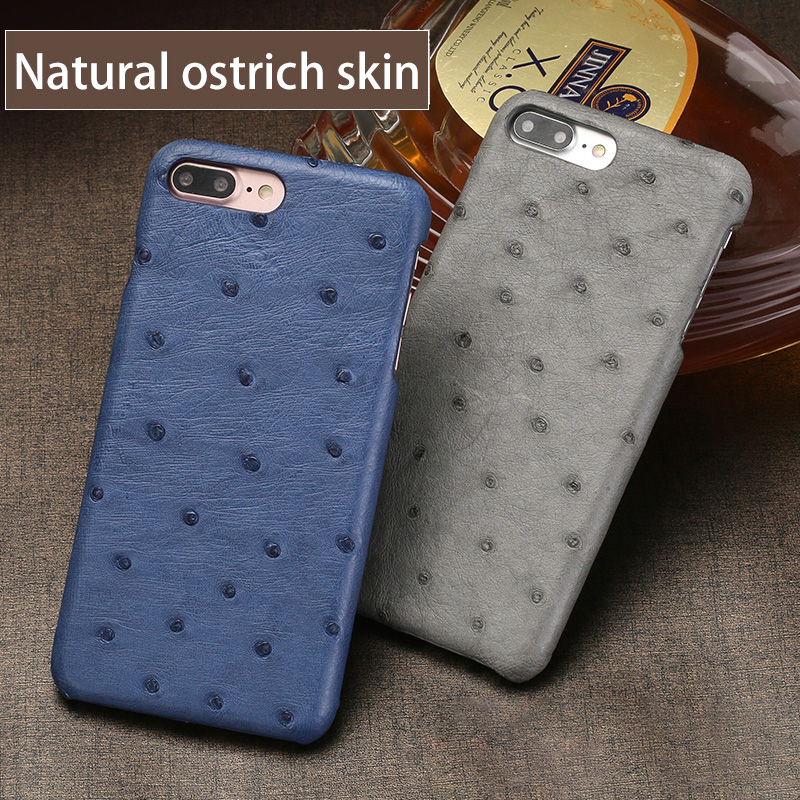 Luxury Genuine Leather Phone Case For iPhone 7P X Real Ostrich Skin back cover For iPhone SE 5 5S 6 6S 7 8 Plus phone shell