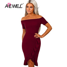 ADEWEL 2019 Elegant Sexy Black Off Shoulder Party Dress Women Bodycon Pencil Knee Length Dress Female Slash Neck Club Dresses elegant women dress slash neck sexy women dresses slim bodycon knitted cotton sweater dress women knee length vestidos pl2