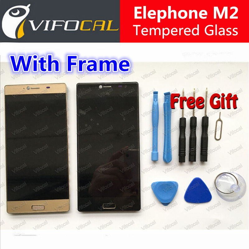 Elephone M2 LCD Display Touch Screen With Frame 100% Original Digitizer Assembly Replacement Repair Accessories For Mobile Phone replacement original touch screen lcd display assembly framefor huawei ascend p7 freeshipping