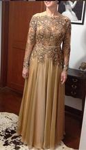 Nueva madre De la novia Vestidos encaje De gasa con cuentas Vestidos De fiesta manga larga longitud del piso más el tamaño para vestido Formal S118