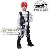 Halloween Partito Pirata Capain Jack Cosplay Boy Abbigliamento Costume di Halloween per I Bambini dei Capretti Costumi di Scena di Performance