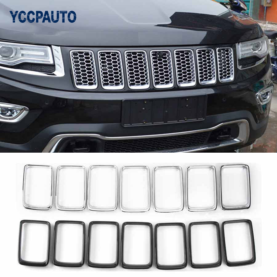 Front grilles for jeep grand cherokee 2014 up covers car styling decorative frame vent trim