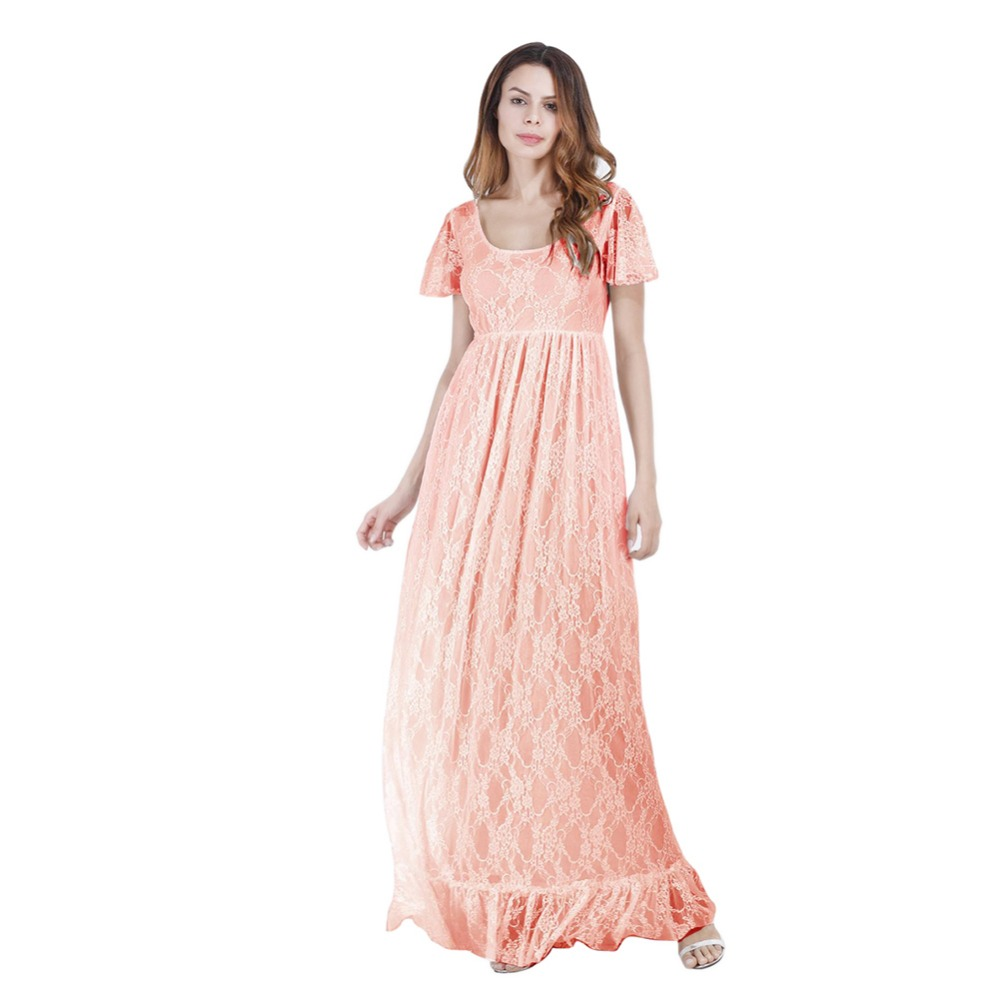 Maternity Floral Lace Dress Maxi V Neck Short Sleeve Gown Bridesmaid ...