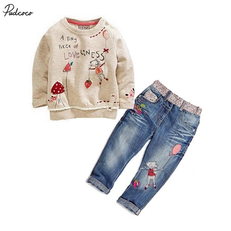 2017 Kids Baby Girls Clothing Sweater + Jeans Denim Pants suit Cartoon Set 2-7Y