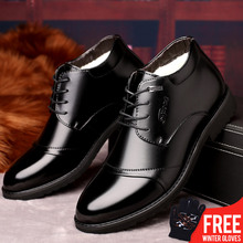 OSCO New Handmade Men Leather Winter Boots High Quality Warm Snow Men Boots Ankle Boots For Men Business Dress Shoes Men dekabr 2018 new handmade men genuine leather winter boots high quality snow men boots ankle boots for men plus big size 36 47
