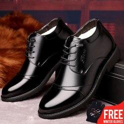 Osco novo feito à mão botas de inverno de couro de alta qualidade botas de neve quente botas de tornozelo para homens de negócios sapatos de vestido