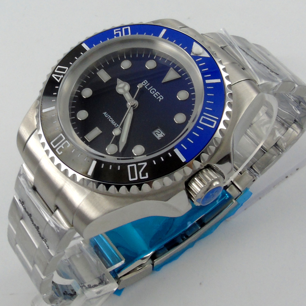Bliger 44mm blue Sterile dial black & blue Ceramic Bezel automatic mens watch