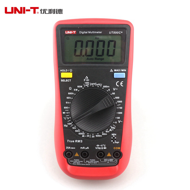 ФОТО UNI-T UT890C+ Digital LCD Multimeter True RMS AC/DC Frequency Palm Size LCD Backlight Automotive + Temperature Probe