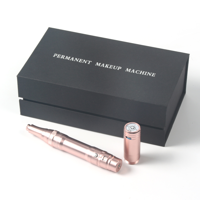 Rose Gold Eyebrows Tattoo Machine Wireless Permanent Makeup Machine With Cartridges Needles Rechargeable Tattoo Gun