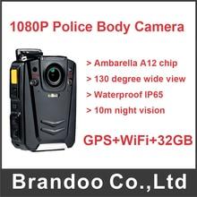 On sale GPS+WiFi+32GB 130 Degree Wide View Ambarella A12 ChipPolice Body Worn Camera