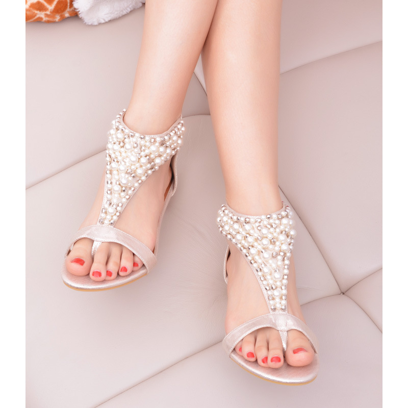 37376a34013b5 woman fashion New Summer open toe Rhinestone zipper pearl beaded wedges  thong sandals women shoes high heel Black 2614-in Women s Sandals from Shoes  on ...