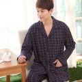 Spring and autumn sleepwear male 100% long-sleeve cotton plaid stripe quinquagenarian plus size 100% cotton casual male lounge