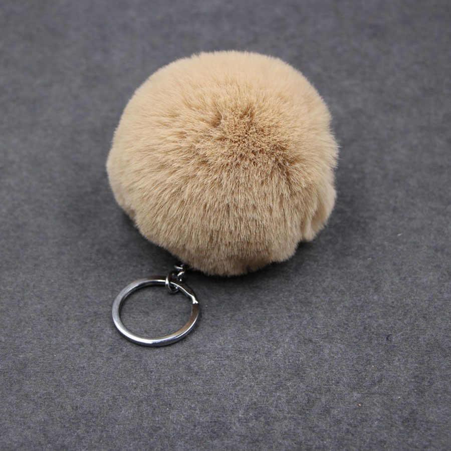 1 шт. искусственный мех мяч 8 см помпон брелок для автомобиля брелок кролик мех мяч брелок меховой бренд помпоны сумка Подвески с брелок на цепочке
